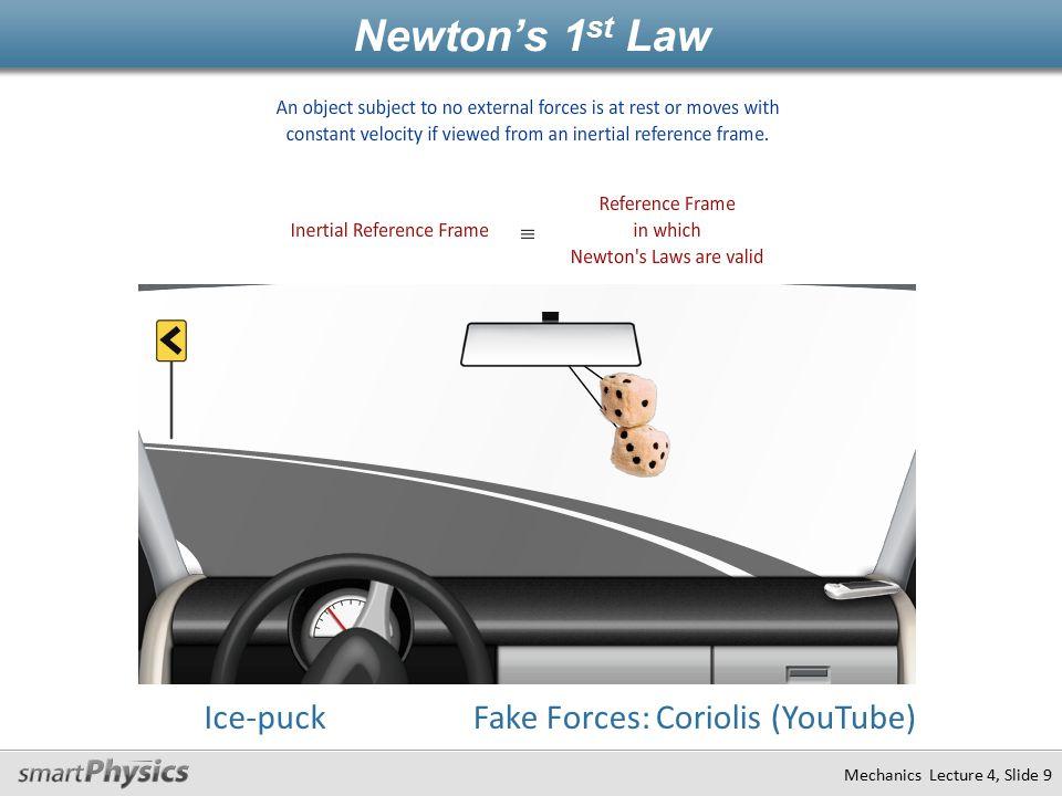 Mechanics Lecture 4, Slide 9 Ice-puckFake Forces: Coriolis (YouTube) Newton's 1 st Law