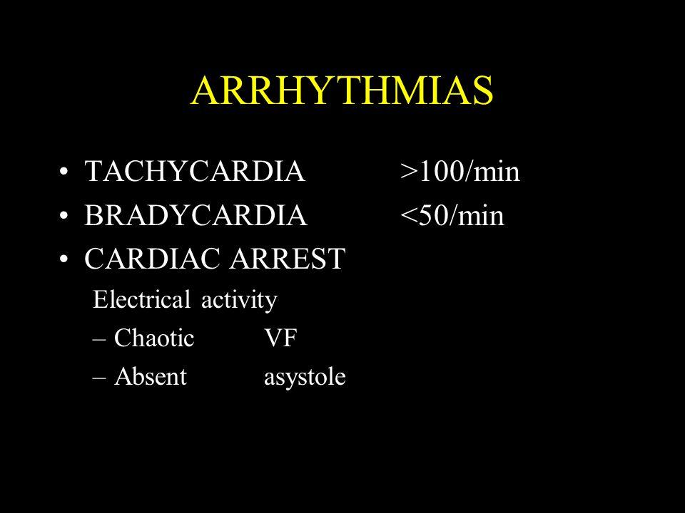 ARRHYTHMIAS TACHYCARDIA>100/min BRADYCARDIA<50/min CARDIAC ARREST Electrical activity –ChaoticVF –Absentasystole