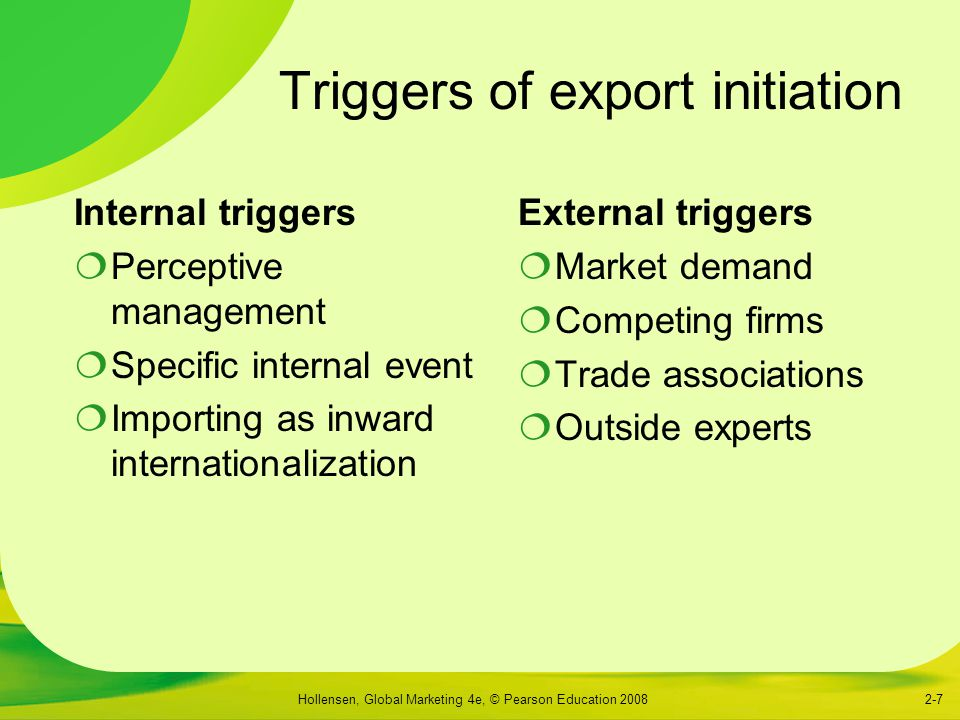 Hollensen, Global Marketing 4e, © Pearson Education 20082-7 Triggers of export initiation Internal triggers  Perceptive management  Specific internal event  Importing as inward internationalization External triggers  Market demand  Competing firms  Trade associations  Outside experts
