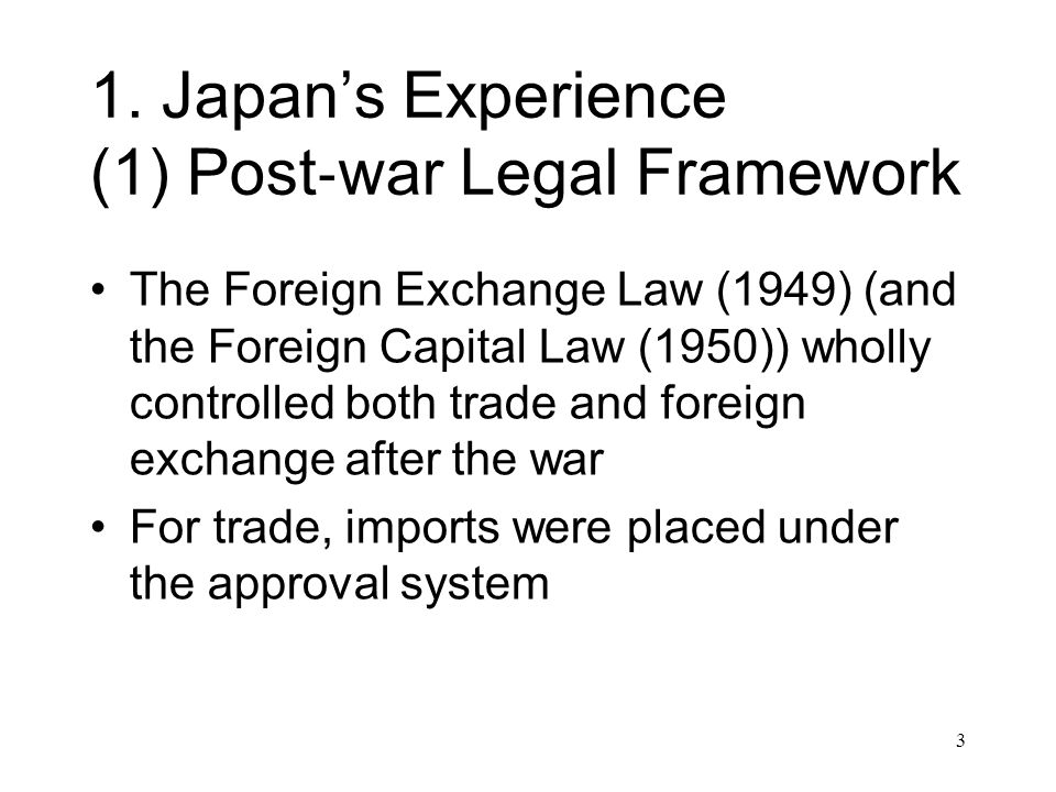 Approval/prior notification requirements for some transactions exempted for business activities by authorized foreign exchange banks, thus encouraging capital flows to be channeled through foreign exchange banks The 1997 reform, which liberalized foreign exchange business, greatly reduced the management function of banks 14