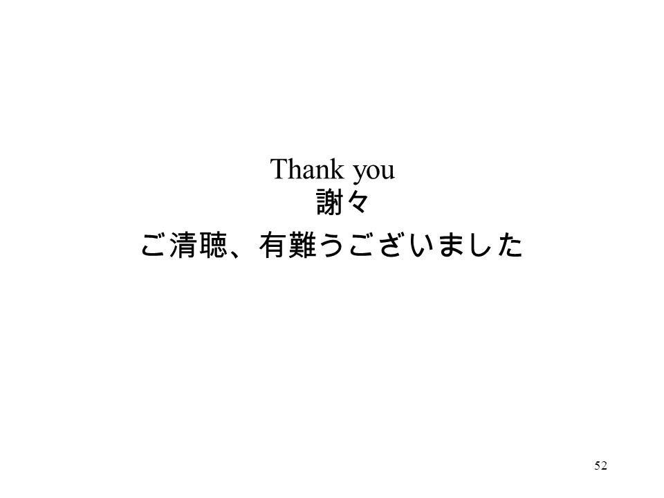 Thank you 謝々 ご清聴、有難うございました 52