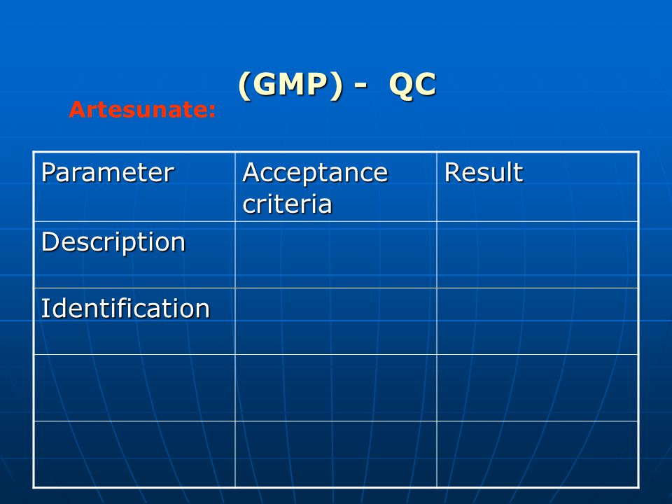 (GMP) - QC Artesunate: Parameter Acceptance criteria Result Description Identification