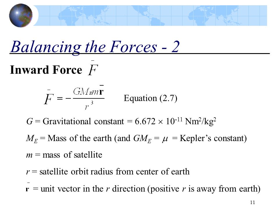 11 Balancing the Forces - 2 Inward Force Equation (2.7) G = Gravitational constant = 6.672  10 -11 Nm 2 /kg 2 M E = Mass of the earth (and GM E =  =