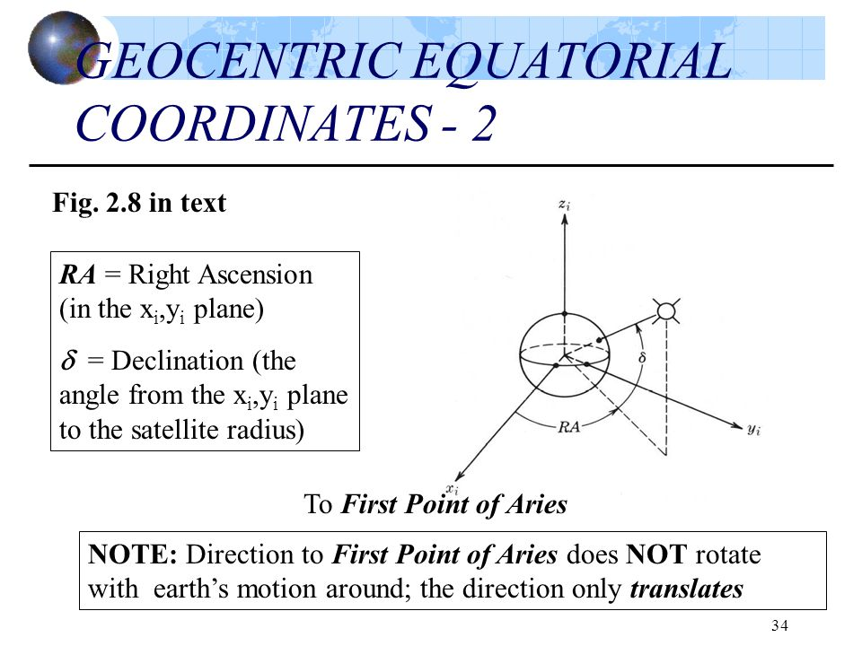 34 GEOCENTRIC EQUATORIAL COORDINATES - 2 Fig. 2.8 in text To First Point of Aries RA = Right Ascension (in the x i,y i plane)  = Declination (the ang