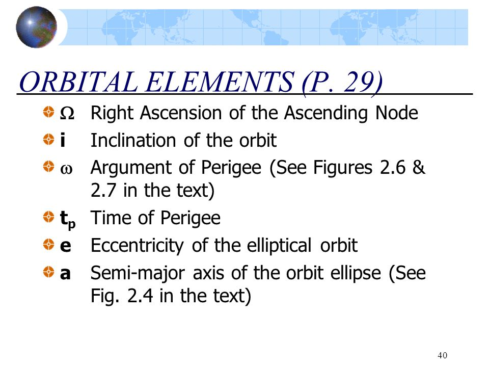 40 ORBITAL ELEMENTS (P. 29)  Right Ascension of the Ascending Node iInclination of the orbit  Argument of Perigee (See Figures 2.6 & 2.7 in the text