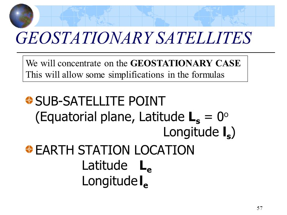 57 GEOSTATIONARY SATELLITES SUB-SATELLITE POINT (Equatorial plane, Latitude L s = 0 o Longitude l s ) EARTH STATION LOCATION LatitudeL e Longitudel e