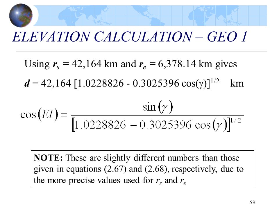 59 ELEVATION CALCULATION – GEO 1 Using r s = 42,164 km and r e = 6,378.14 km gives d = 42,164 [1.0228826 - 0.3025396 cos(  )] 1/2 km NOTE: These are