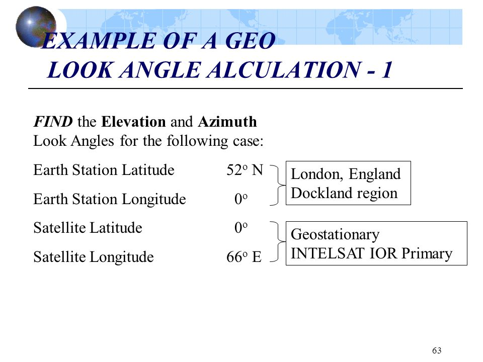 63 EXAMPLE OF A GEO LOOK ANGLE ALCULATION - 1 FIND the Elevation and Azimuth Look Angles for the following case: Earth Station Latitude52 o N Earth St