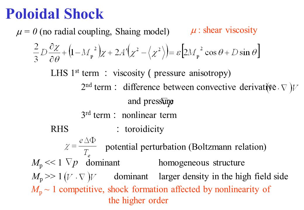 Poloidal Shock  : shear viscosity LHS 1 st term : viscosity ( pressure anisotropy) 2 nd term : difference between convective derivative and pressure