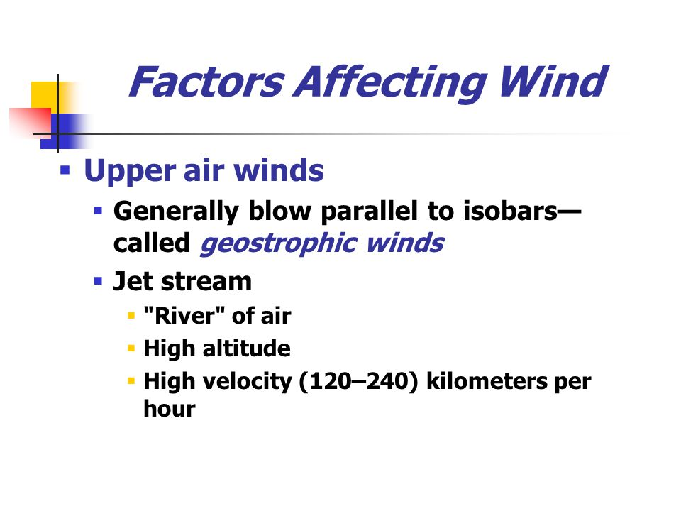 Factors Affecting Wind  Upper air winds  Generally blow parallel to isobars— called geostrophic winds  Jet stream 