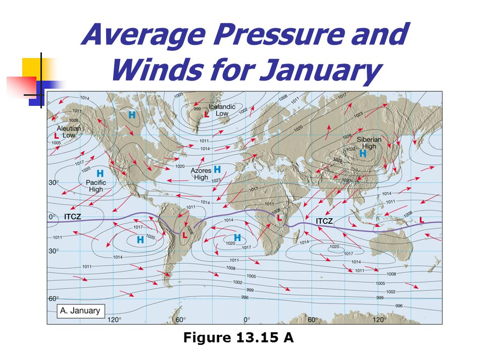 Average Pressure and Winds for January Figure 13.15 A