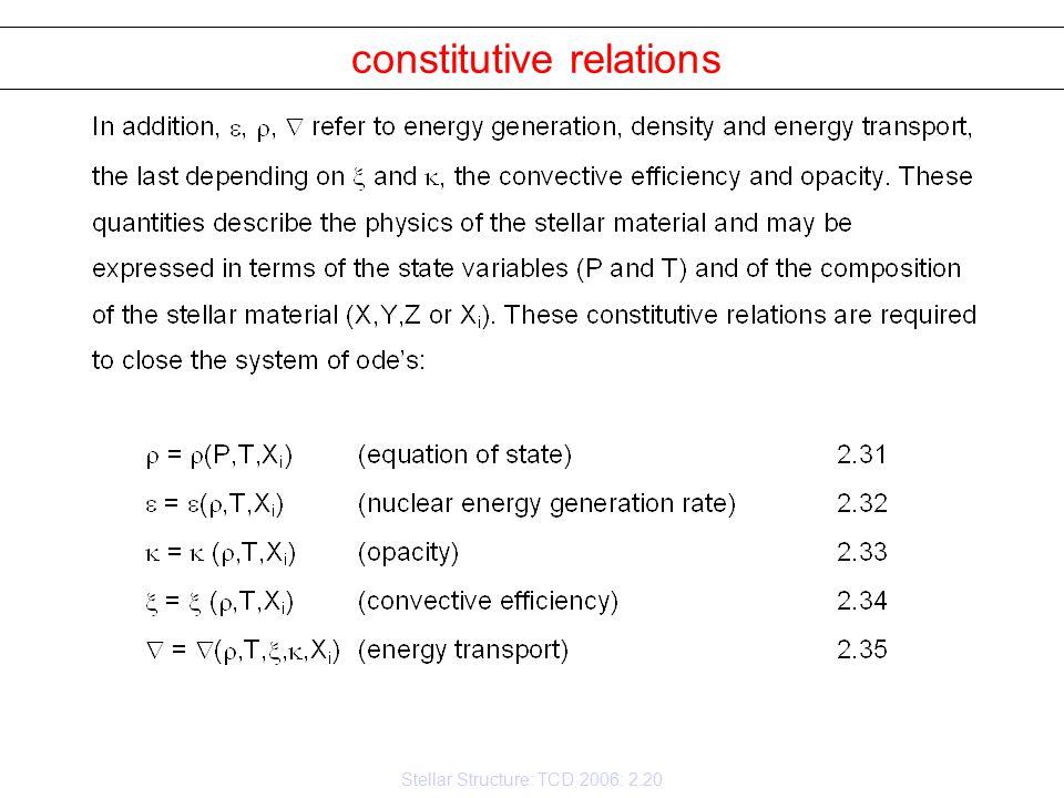 Stellar Structure: TCD 2006: 2.20 constitutive relations