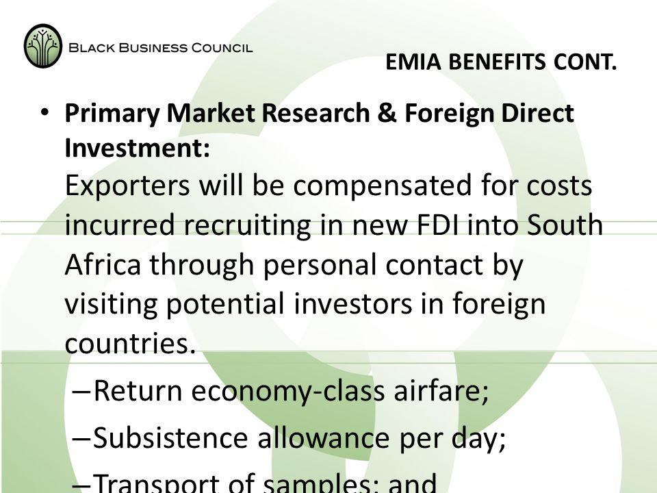 EMIA BENEFITS CONT.