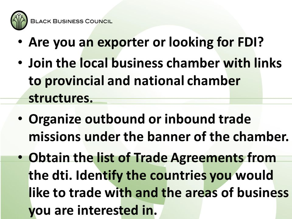 Are you an exporter or looking for FDI.