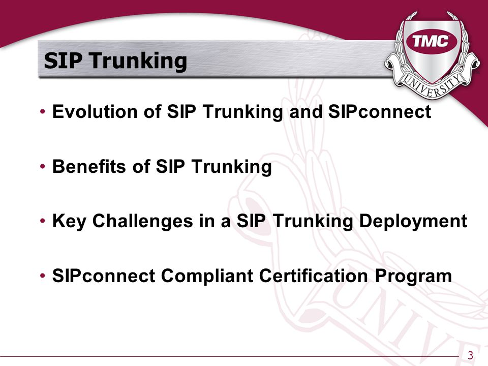 3 SIP Trunking Evolution of SIP Trunking and SIPconnect Benefits of SIP Trunking Key Challenges in a SIP Trunking Deployment SIPconnect Compliant Certification Program