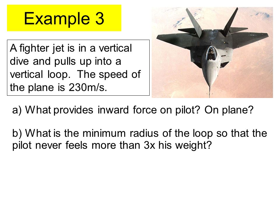 Example 3 A fighter jet is in a vertical dive and pulls up into a vertical loop.