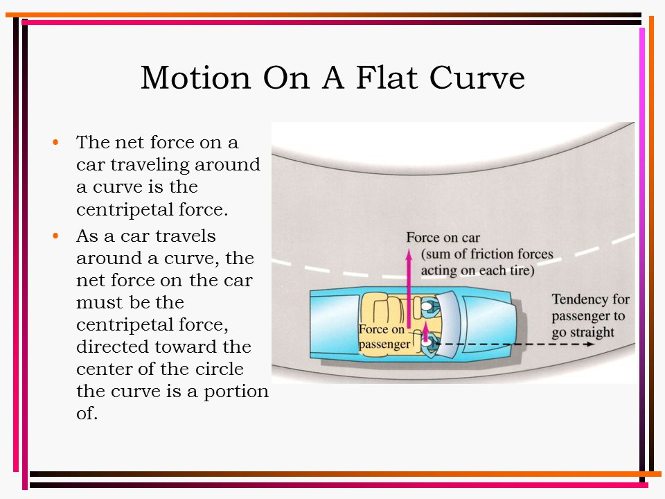 Motion On A Flat Curve The net force on a car traveling around a curve is the centripetal force. As a car travels around a curve, the net force on the