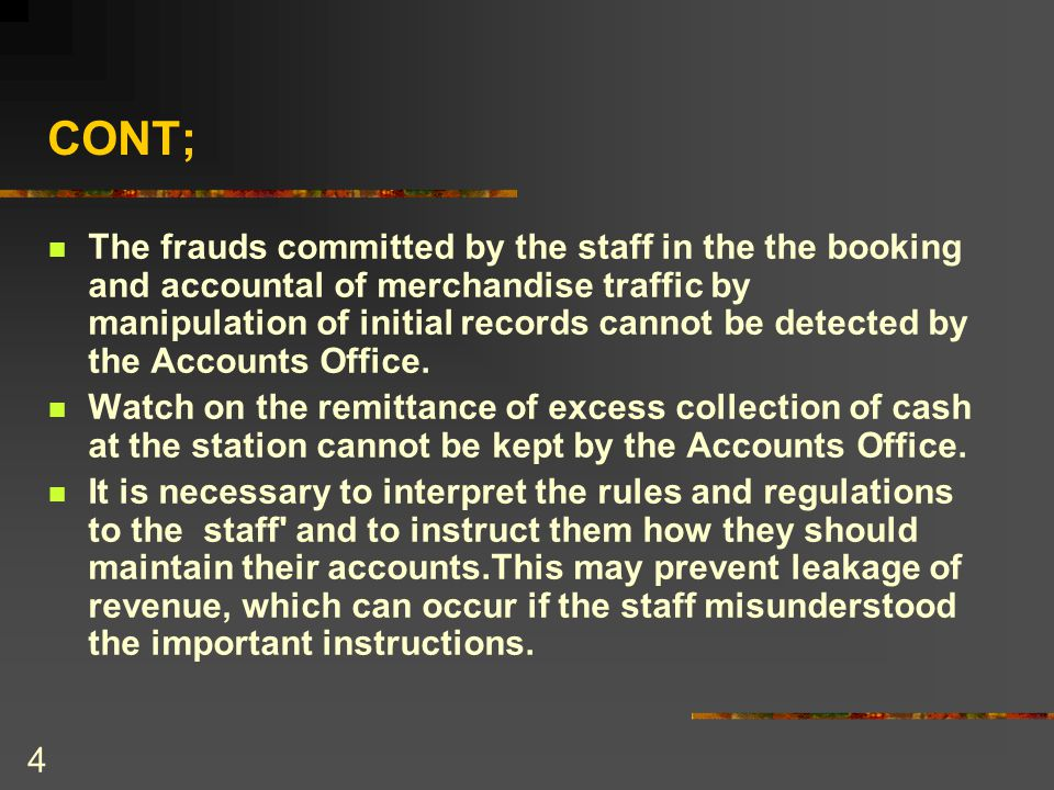 15 FRAUDS COMMITTED IN INWARD GOODS AND PARCEL TRAFFIC Invoices and Way-bills accounted for and the freight temporarily or permanently misappropriated by showing the amount outstanding as represented by goods or parcels on hand, or not received or sent to Lost Property Office or rebooked.