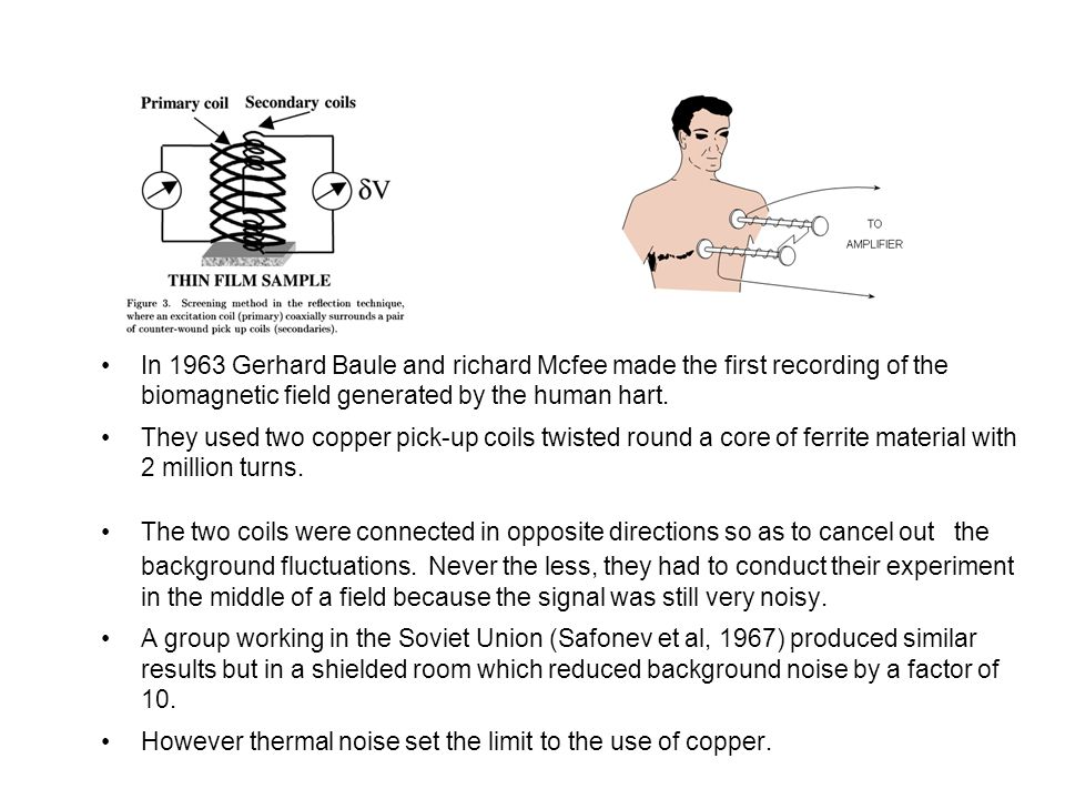 In 1963 Gerhard Baule and richard Mcfee made the first recording of the biomagnetic field generated by the human hart. They used two copper pick-up co