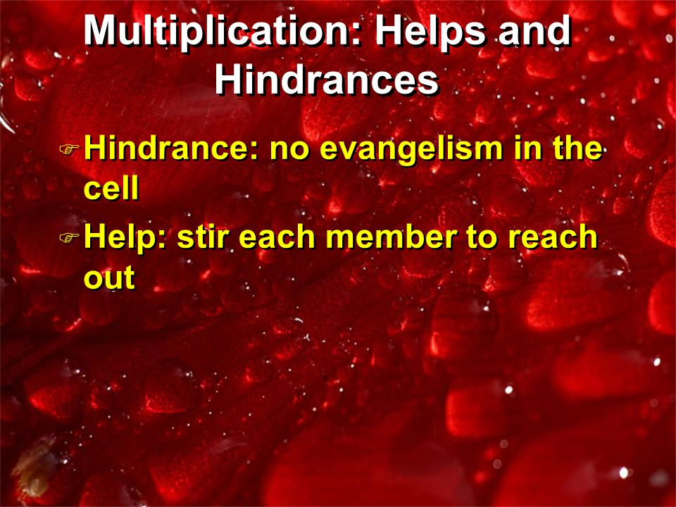 F Hindrance: no evangelism in the cell F Help: stir each member to reach out F Hindrance: no evangelism in the cell F Help: stir each member to reach out Multiplication: Helps and Hindrances