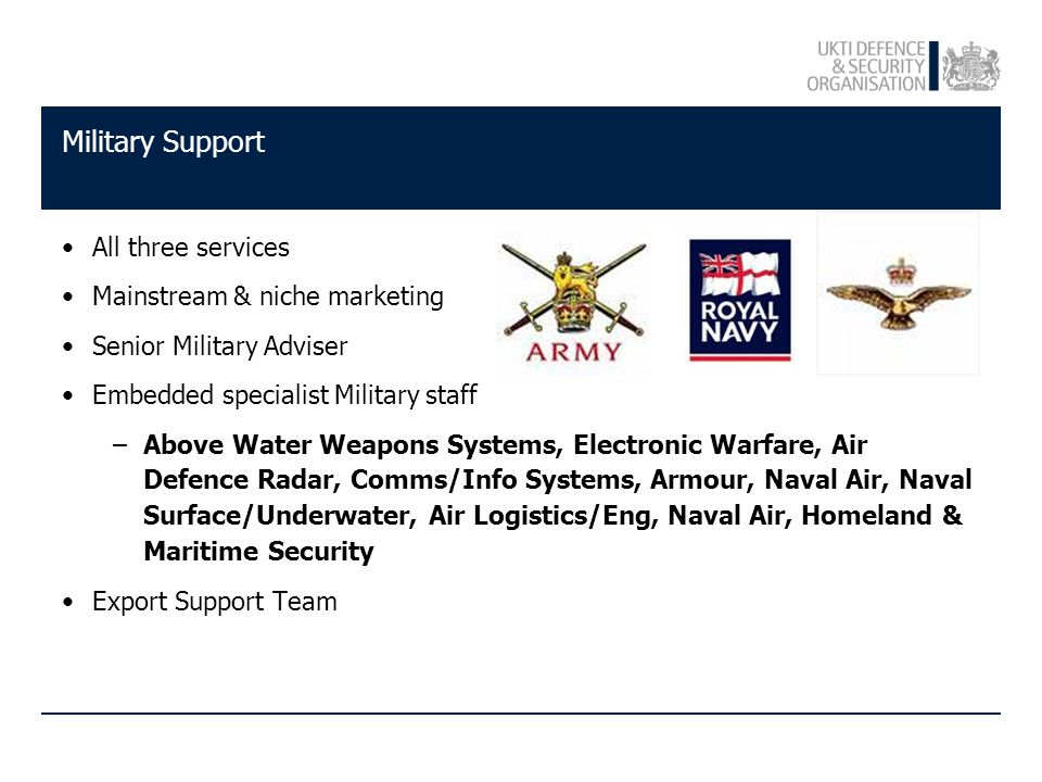 Military Support All three services Mainstream & niche marketing Senior Military Adviser Embedded specialist Military staff –Above Water Weapons Systems, Electronic Warfare, Air Defence Radar, Comms/Info Systems, Armour, Naval Air, Naval Surface/Underwater, Air Logistics/Eng, Naval Air, Homeland & Maritime Security Export Support Team