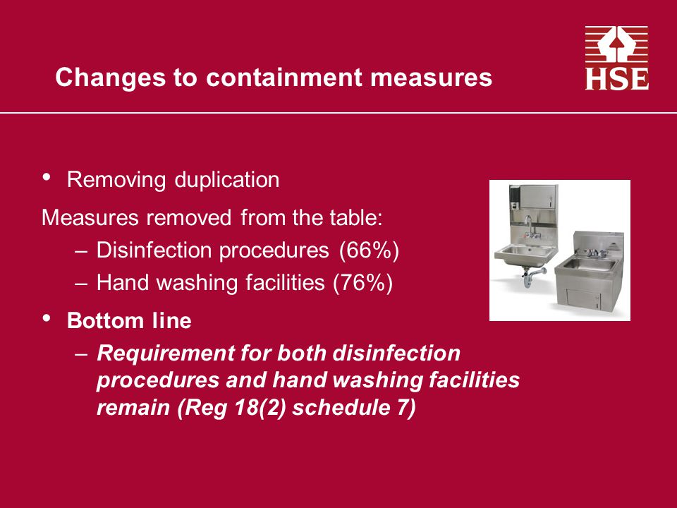 Changes to containment measures Removing duplication Measures removed from the table: –Disinfection procedures (66%) –Hand washing facilities (76%) Bottom line –Requirement for both disinfection procedures and hand washing facilities remain (Reg 18(2) schedule 7)