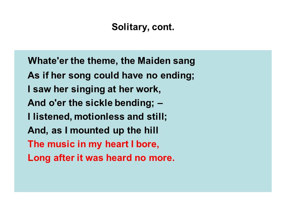 Solitary, cont.