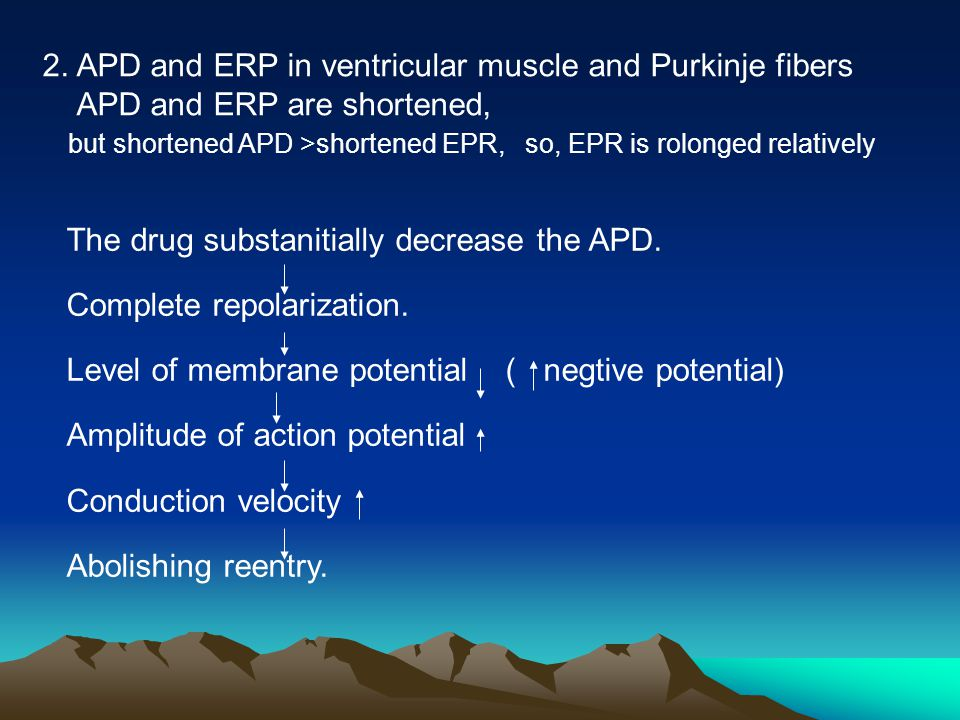 The drug substanitially decrease the APD. Complete repolarization. Level of membrane potential ( negtive potential) Amplitude of action potential Cond