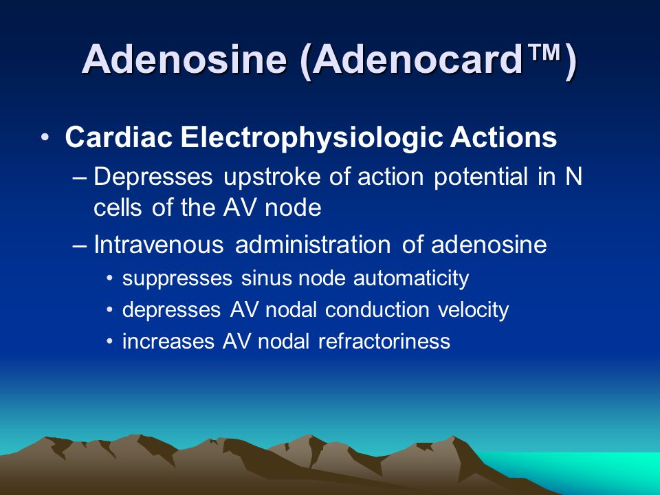 Adenosine (Adenocard™) Cardiac Electrophysiologic Actions –Depresses upstroke of action potential in N cells of the AV node –Intravenous administratio