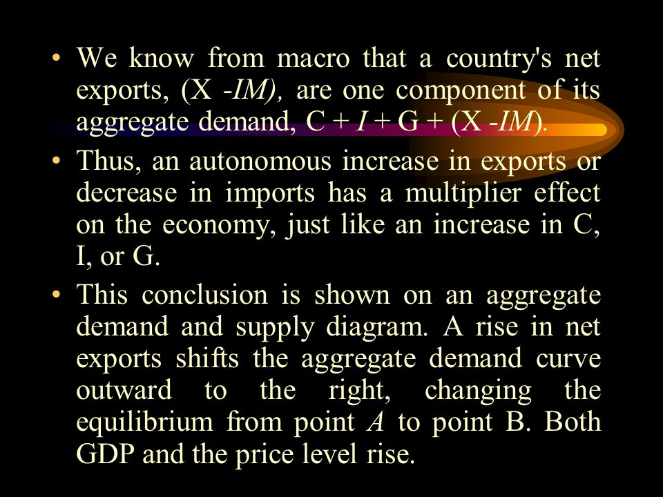 We know from macro that a country s net exports, (X -IM), are one component of its aggregate demand, C + I + G + (X -IM).