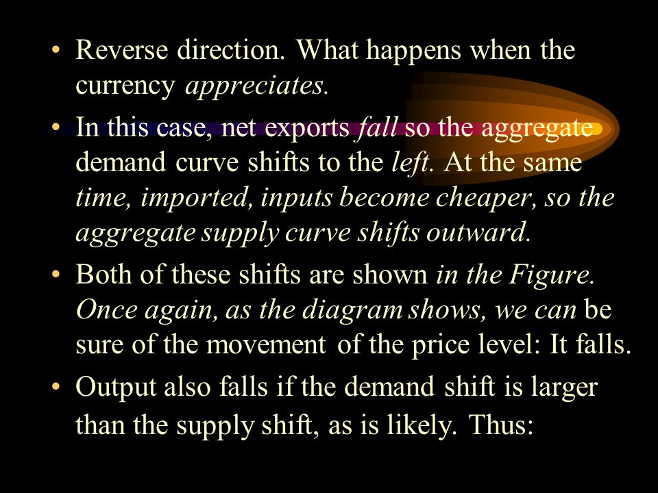 Reverse direction. What happens when the currency appreciates.