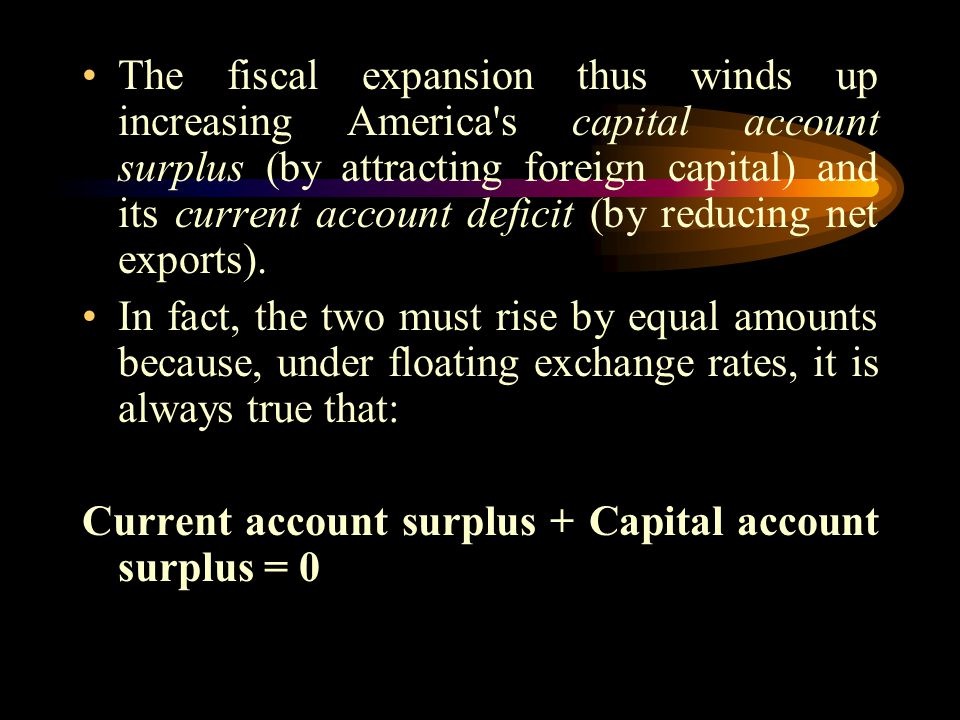 The fiscal expansion thus winds up increasing America s capital account surplus (by attracting foreign capital) and its current account deficit (by reducing net exports).