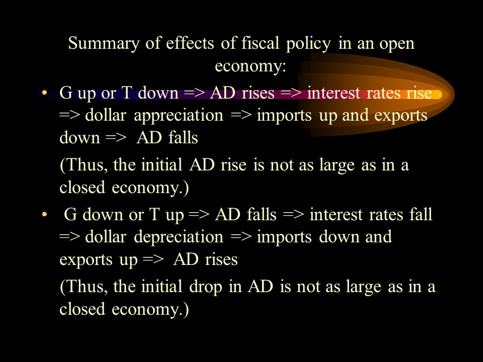 Summary of effects of fiscal policy in an open economy: G up or T down => AD rises => interest rates rise => dollar appreciation => imports up and exports down => AD falls (Thus, the initial AD rise is not as large as in a closed economy.) G down or T up => AD falls => interest rates fall => dollar depreciation => imports down and exports up => AD rises (Thus, the initial drop in AD is not as large as in a closed economy.)