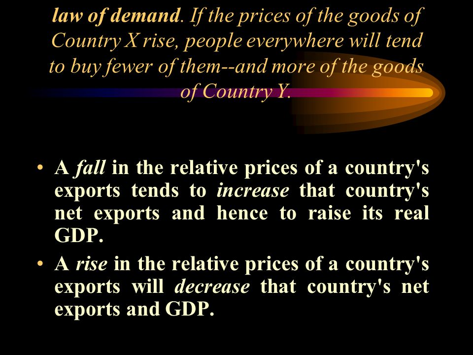 law of demand. If the prices of the goods of Country X rise, people everywhere will tend to buy fewer of them--and more of the goods of Country Y. A f