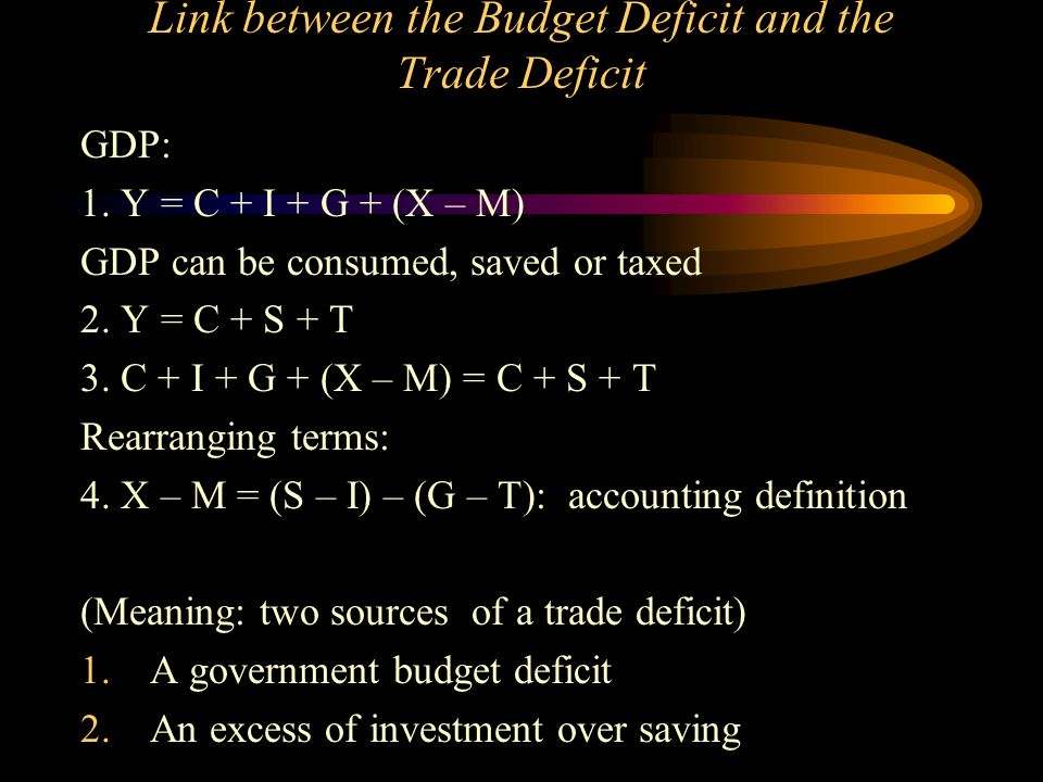 Link between the Budget Deficit and the Trade Deficit GDP: 1. Y = C + I + G + (X – M) GDP can be consumed, saved or taxed 2. Y = C + S + T 3. C + I +