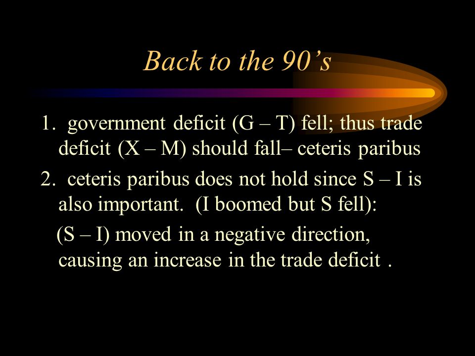 Back to the 90's 1. government deficit (G – T) fell; thus trade deficit (X – M) should fall– ceteris paribus 2. ceteris paribus does not hold since S