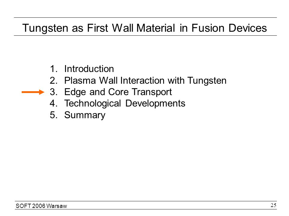 SOFT 2006 Warsaw 25 Tungsten as First Wall Material in Fusion Devices 1.Introduction 2.Plasma Wall Interaction with Tungsten 3.Edge and Core Transport