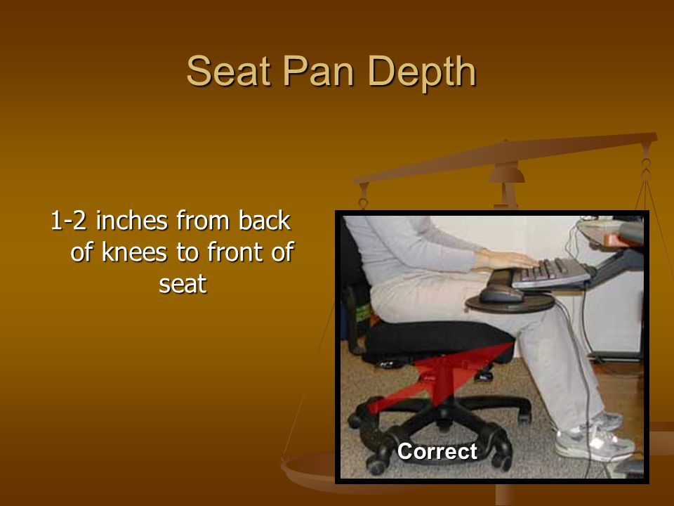 Seat Pan Depth 1-2 inches from back of knees to front of seat Correct