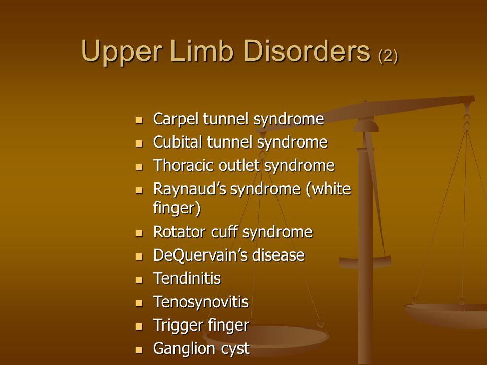 Carpel tunnel syndrome Carpel tunnel syndrome Cubital tunnel syndrome Cubital tunnel syndrome Thoracic outlet syndrome Thoracic outlet syndrome Raynau