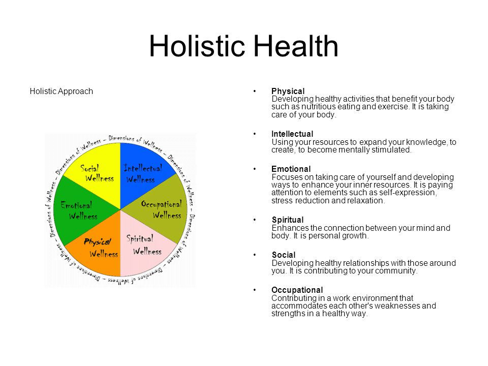 Holistic Health Holistic ApproachPhysical Developing healthy activities that benefit your body such as nutritious eating and exercise.