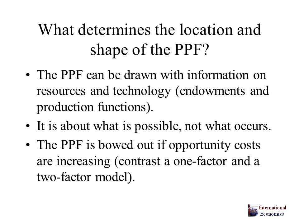 What determines the location and shape of the PPF.