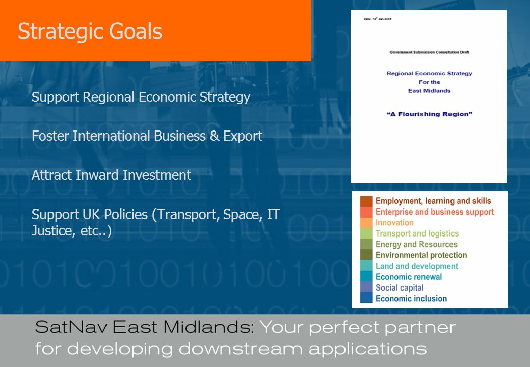 Strategic Goals Support Regional Economic Strategy Foster International Business & Export Attract Inward Investment Support UK Policies (Transport, Space, IT Justice, etc..)