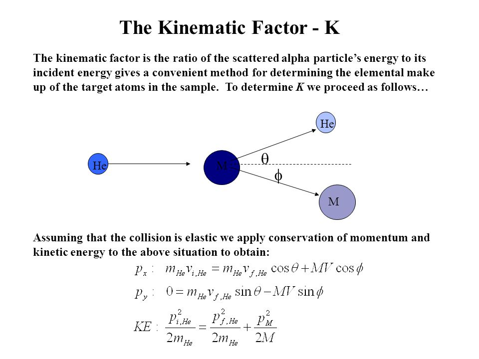 The Kinematic Factor - K Assuming that the collision is elastic we apply conservation of momentum and kinetic energy to the above situation to obtain: