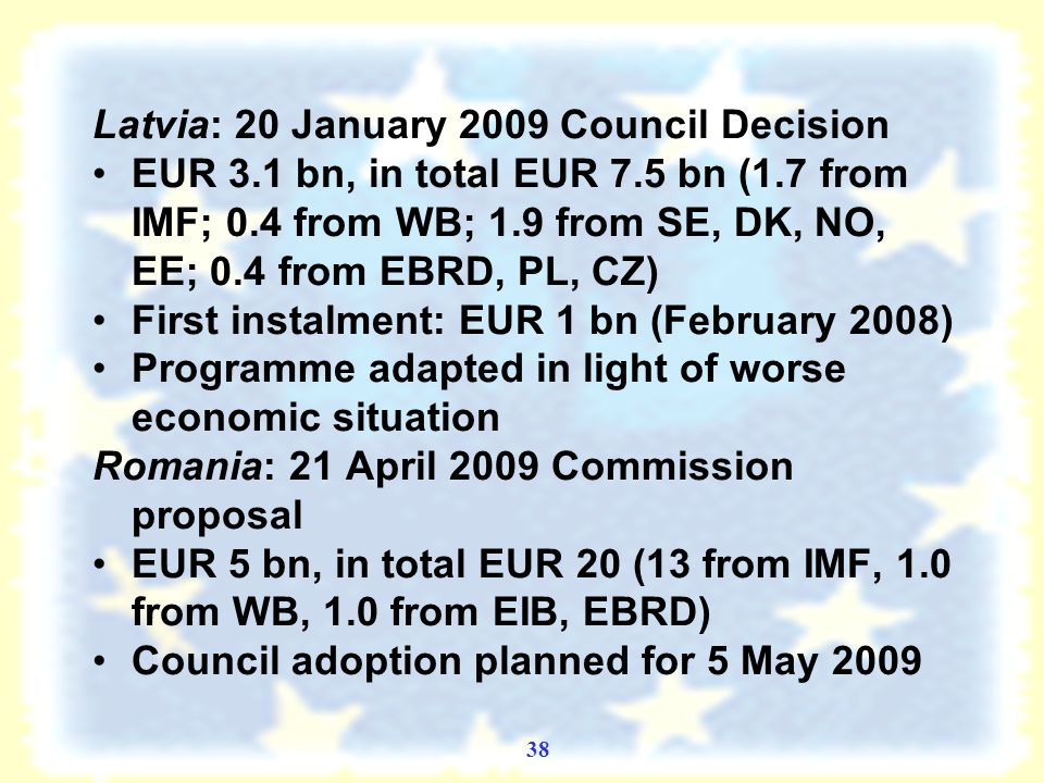 37 EU balance of payments assistance Context (contribution to multilateral effort) EU: facility increased from EUR 12 in 1988 when the instrument was