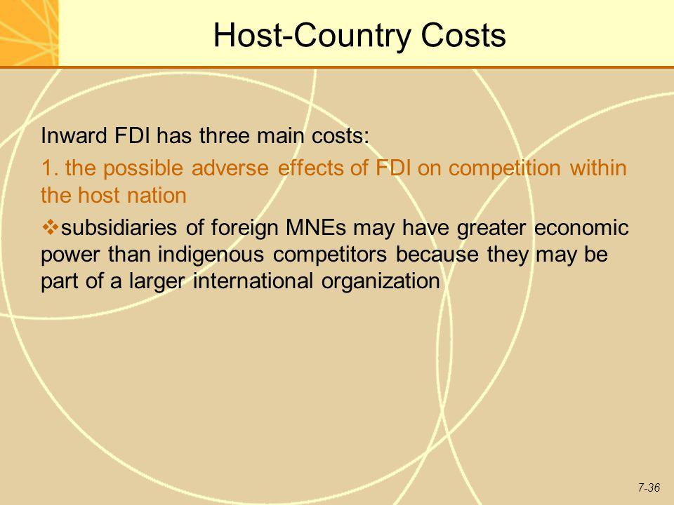 7-36 Host-Country Costs Inward FDI has three main costs: 1.
