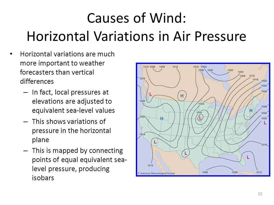 33 Causes of Wind: Horizontal Variations in Air Pressure Horizontal variations are much more important to weather forecasters than vertical difference