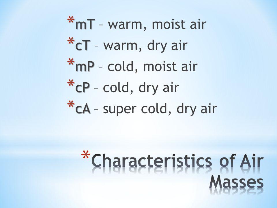 * mT * mT – warm, moist air * cT * cT – warm, dry air * mP * mP – cold, moist air * cP * cP – cold, dry air * cA * cA – super cold, dry air