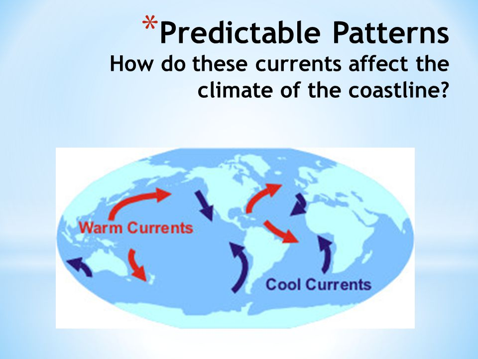 * Predictable Patterns How do these currents affect the climate of the coastline?