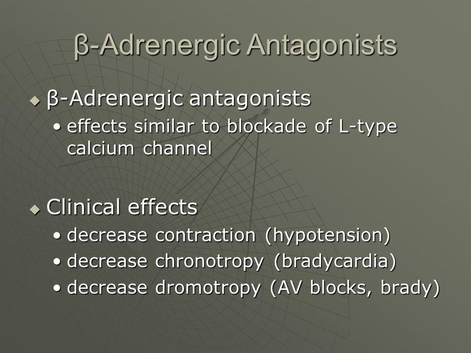 β-Adrenergic Antagonists  β-Adrenergic antagonists effects similar to blockade of L-type calcium channeleffects similar to blockade of L-type calcium