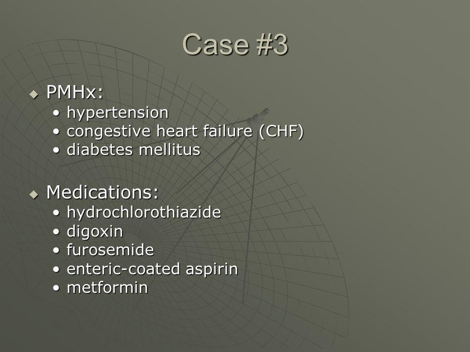 Case #3  PMHx: hypertensionhypertension congestive heart failure (CHF)congestive heart failure (CHF) diabetes mellitusdiabetes mellitus  Medications